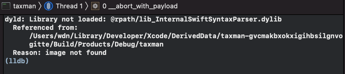 dyld: Library not loaded: @rpath/lib_InternalSwiftSyntaxParser.dylib